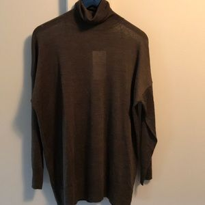 Zara wool/tencel thin olive widecut turtleneck NWT